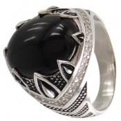 انگشتر عقیق سیاه طرح دورچنگ مردانه
