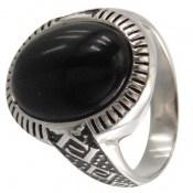انگشتر عقیق سیاه درشت و جذاب مردانه