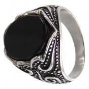 انگشتر عقیق سیاه طرح اسلیمی مردانه