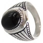 انگشتر عقیق سیاه طرح کلاسیک مردانه