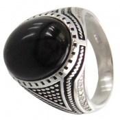 انگشتر عقیق سیاه طرح آراد مردانه