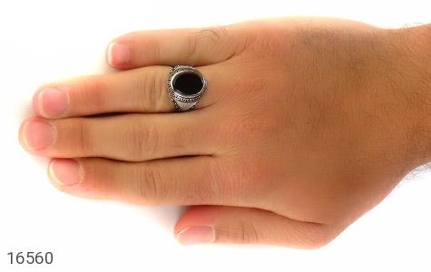 انگشتر عقیق سیاه طرح شایگان مردانه - عکس 7