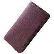کیف چرم طبیعی ضربه گیر موبایل بنفش