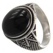 انگشتر عقیق سیاه طرح اردشیر مردانه