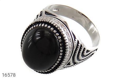 انگشتر عقیق سیاه جذاب طرح ماهان مردانه - عکس 1