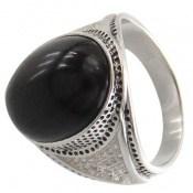 انگشتر عقیق سیاه طرح افخم مردانه