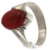انگشتر عقیق قرمز چهارچنگ حکاکی یا امام رضا مردانه
