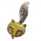 مدال مارکازیت و عقیق زرد طرح روباه زنانه