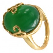 انگشتر عقیق سبز درشت رکاب فری سایز زنانه