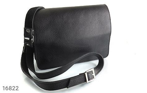 کیف چرم طبیعی مدل دوشی طرح اسپرت مشکی - عکس 1