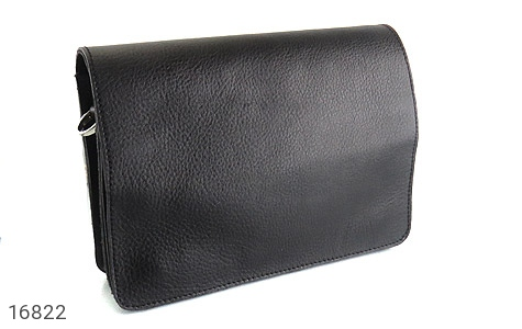 کیف چرم طبیعی مدل دوشی طرح اسپرت مشکی - تصویر 2