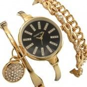 ساعت کلوین تایم Kelvin Time صفحه مشکی چهارتکه با دستبند زنانه