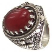 انگشتر عقیق سرخ درشت طرح شاهانه مردانه