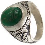 انگشتر عقیق سبز حکاکی و قلم زنی مذهبی مردانه