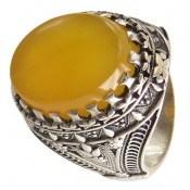 انگشتر عقیق زرد درشت شرف الشمس طرح سلطان مردانه
