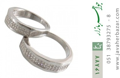 حلقه ازدواج نقره طرح طناز - کد 16877