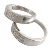 حلقه ازدواج نقره طرح سه خطی