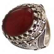 انگشتر عقیق قرمز خوش رنگ درشت مردانه