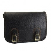 کیف چرم طبیعی بنددار مشکی زنانه
