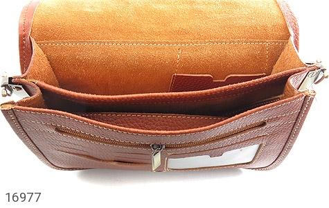 کیف چرم طبیعی بند دار قهوه ای - تصویر 4