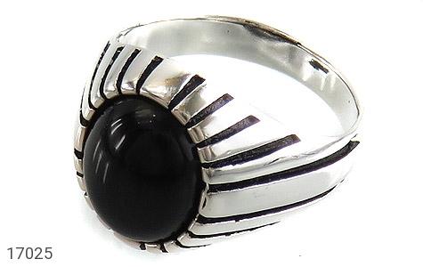 انگشتر عقیق سیاه طرح سنتی - عکس 1
