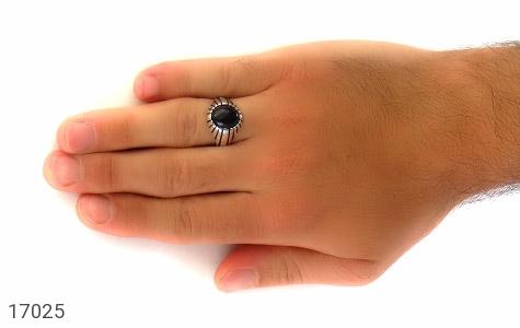 انگشتر عقیق سیاه طرح سنتی - عکس 7