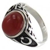 انگشتر عقیق قرمز طرح ماه و ستاره مردانه
