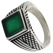 انگشتر عقیق سبز طرح کلاسیک مردانه