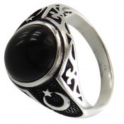 انگشتر عقیق سیاه طرح ماه و ستاره مردانه