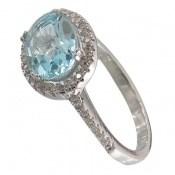 انگشتر توپاز آبی طرح محبوب زنانه