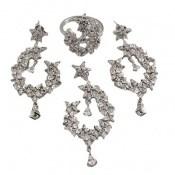 سرویس نقره جواهری درشت طرح اشرافی زنانه