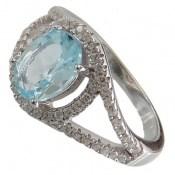 انگشتر توپاز آبی طرح یگانه زنانه
