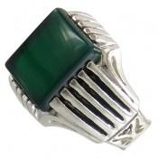 انگشتر عقیق سبز طرح آرمان مردانه