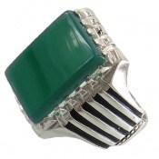 انگشتر عقیق سبز درشت طرح سالار مردانه