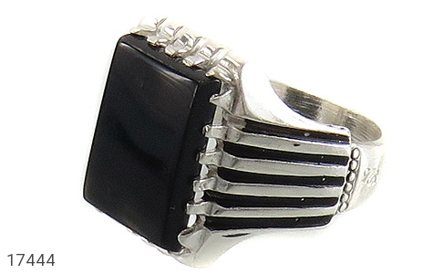 انگشتر عقیق سیاه درشت طرح سالار مردانه - عکس 1