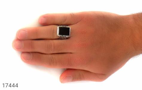 انگشتر عقیق سیاه درشت طرح سالار مردانه - عکس 7