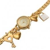 ساعت رمانسون Romanson طلائی آویز کلید قفل قلب زنانه