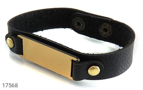 دستبند چرم طبیعی طرح کلاسیک - عکس 1