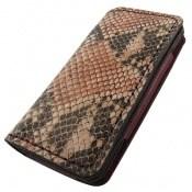 کیف چرم طبیعی ضربه گیر موبایل پلنگی زرشکی زنانه