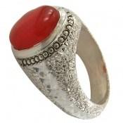 انگشتر عقیق قرمز خوش رنگ درشت یمن مردانه