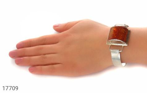 دستبند کهربا لهستان بولونی تک نگین درشت زنانه - تصویر 8