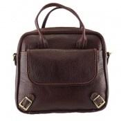 کیف چرم طبیعی دستی و دوشی طرح پرکار و شیک قهوه ای زنانه