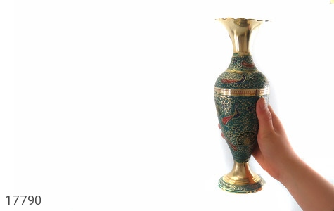 تندیس برنج کشمیری طرح گلدان میناکاری سایز 2 - عکس 11