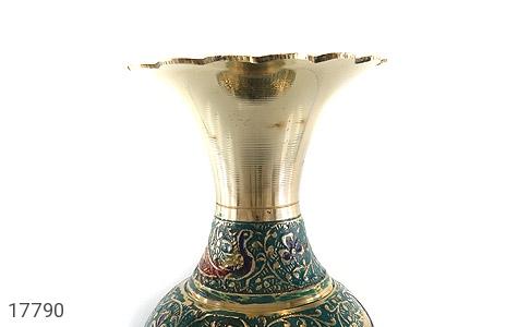 تندیس برنج کشمیری طرح گلدان میناکاری سایز 2 - عکس 5