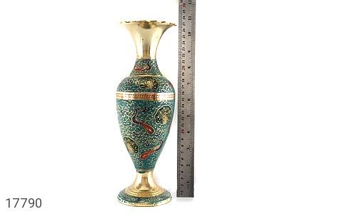 تندیس برنج کشمیری طرح گلدان میناکاری سایز 2 - عکس 9