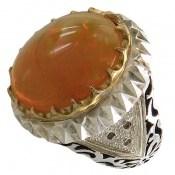انگشتر الماس و اپال درشت رکاب آینه کاری سلطنتی و بی نظیر مردانه