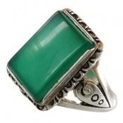 انگشتر عقیق سبز درشت طرح رحیم مردانه