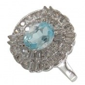 انگشتر توپاز آبی طرح جواهری زنانه