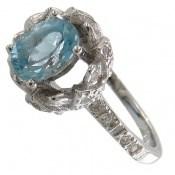 انگشتر توپاز آبی طرح گلرخ زنانه