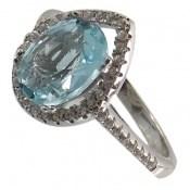 انگشتر توپاز آبی طرح اشکی زنانه